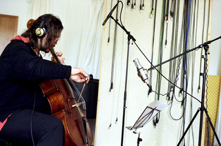 violoncellist and composer wolfgang zamastil during recording session